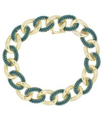 Cosanuova Sterling Silver Turquoise Link Bracelet In Yellow - Metallic