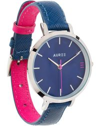 Auree Montmartre Silver Watch With Royal Blue & Hot Pink Strap - Metallic