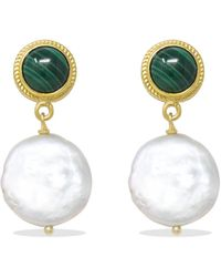 Vintouch Italy Gold-plated Malachite & Keshi Pearl Earrings - Green
