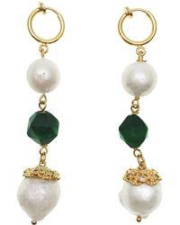 Farra Tiger Eyes Stones & Freshwater Pearls Dangle Earrings - Green