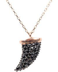 LÁTELITA London Tooth Tusk Pendant Necklace Black Cz Rose Gold - Metallic