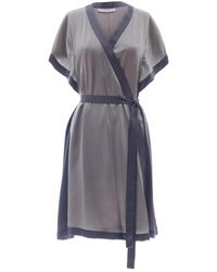 Roses Are Red Morning Quote Kimono In Silk Mint - Gray