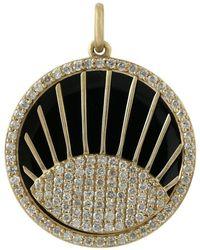 Artisan 14k Gold Pave Diamond Evil Eye Pendant - Metallic