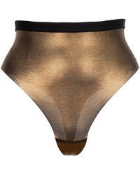 Item M6 All Mesh Brazilian Shape Brief - Metallic