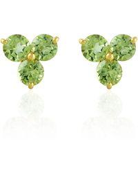 Artisan 14k Yellow Gold Peridot Stud Earrings Handmade Jewellery - Multicolour