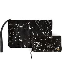 MAHI - Matching Clutch & Purse Gift Set In Black & Silver Pony Hair Leather - Lyst