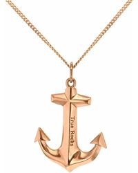 True Rocks - Mini Anchor Necklace Rose Gold - Lyst