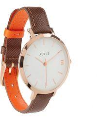 Auree Montmartre Rose Gold Watch With Chestnut Brown & Orange Strap