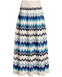 Rumour London Tahiti Wavy Striped Maxi Skirt - Blue