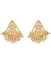 Carousel Jewels - Delicate Pearl And Sliced Crystal Earrings - Lyst