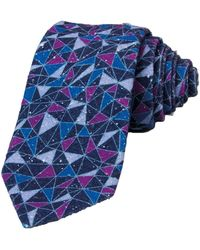 40 Colori - Navy Mosaic Printed Bourette Silk Tie - Lyst