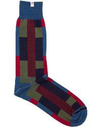40 Colori - Petrol Blue Squares & Stripes Organic Cotton Socks - Lyst