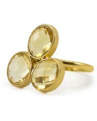 Vintouch Italy Capri Citrine Gold Ring - Metallic