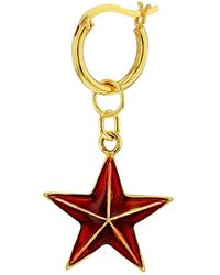 True Rocks Red Enamel & 18 Carat Gold Plated Star Earring On Gold Hoop - Metallic