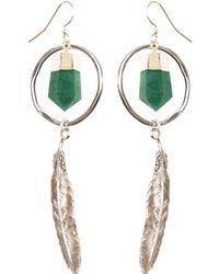 Tiana Jewel - Feather Canyon Green Quartz Hoop Earrings Silver - Lyst