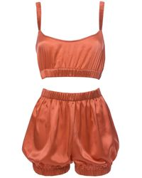 Roses Are Red Sundays Are For Ever Silk Sleepwear Set Coral - Multicolour