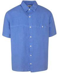 Haris Cotton Short Sleeved Front Pocket Linen Shirt- Reggata - Blue