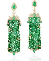Artisan 18kt Gold Natural Diamond Carving Jade Dangle Earrings Emerald Jewellery - Green