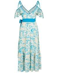 Nocturne Midi Wrap Dress-multicolour - Blue