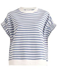 Paisie Striped Short Sleeve Sweatshirt In Light Blue And White