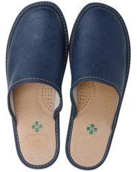 ONAIE Dark Blue Leather Slippers - Black