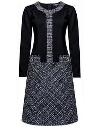 Rumour London Beatrice Jersey Dress With Blue Tweed Skirt