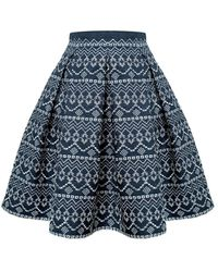 Rumour London Anna Embroidered Flared Skirt - Blue