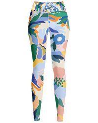 Jessie Zhao New York High Waist Yoga Leggings In Afternoon Garden - Blue