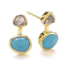 Dione London - Iris Rough Diamond & Arizona Turquoise Earrings - Lyst
