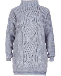 SALANIDA Cable Knit Alpaca Blend Jumper - Blue