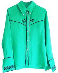 Florence Bridge Embroidered Cowboy Shirt Jade Green