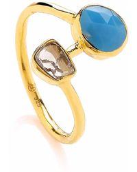 Dione London - Iris Arizona Turquoise & Rough Diamond Slice Ring - Lyst