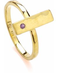 Dione London - Luciana Amethyst Rectangle Stacking Ring - Lyst