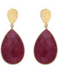 Carousel Jewels - Double Drop Dyed Ruby & Textured Golden Nugget Earrings - Lyst