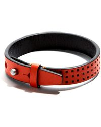 JAM MMXIV - Orange Perforated Leather Bracelet - Lyst