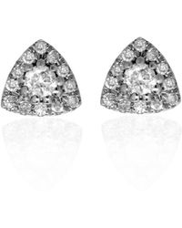 Ri Noor Triangle Diamond Earrings In White Gold - Metallic