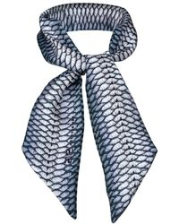 Arlette Ess Fishskin Miniscarf / Headband / Bag Accessory - Blue