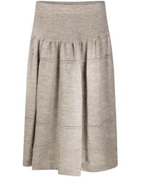 STUDIO MYR Sweety Calf-length Bohemian Chic Knitted Skirt - Grey