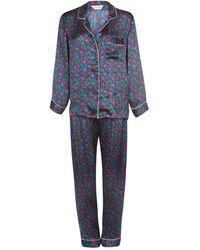 Carousel Jewels Berry Blue Luxury Silk Pyjama Set