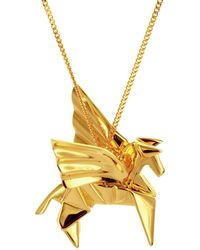 Origami Jewellery Sterling Silver Gold Plated Pegaze Necklace - Metallic