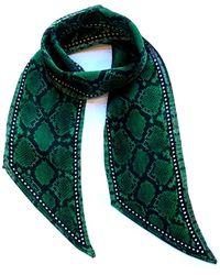 INGMARSON Snakeskin Silk Neck Scarf Green
