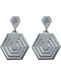 Edge Only - Hexagon Drop Earrings In Gold - Lyst