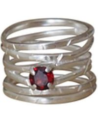 Elena Jewelry Concepts - Silver Wave Ring With Red Garnet - Lyst