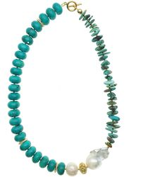 Farra Turquoise With Baroque Short Necklace - Blue