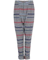 DANEH Drop Crotch Plaid Trousers - Grey