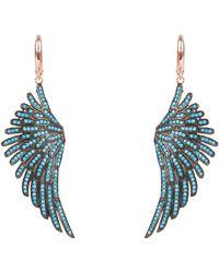 LÁTELITA London Angel Wing Drop Earring Rosegold Turquoise Blue