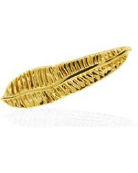Lee Renee Banana Leaf Slider Earring Single- Gold - Metallic