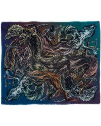Arlette Ess 'fox Furs Toxic' Large Fringed Silk Twill Scarf - Blue