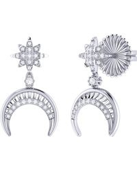 LMJ North Star Moon Crescent Earrings In Sterling Silver - Metallic