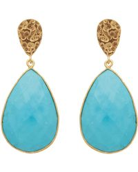 Carousel Jewels - Double Drop Turquoise & Golden Nugget Earrings - Lyst
